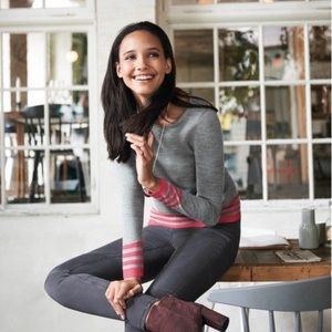 Boden Hilda wool blend gray pink sweater/ M